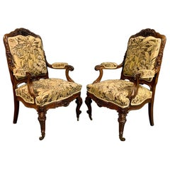 19th Century Pair of Generous Size French Mahogany Armchairs or Fauteuil