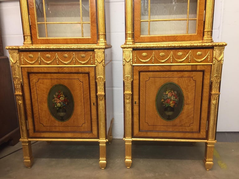 Early Victorian 19th Century Pair of George III Style Painted and Parcel-Gilt Satinwood Cabinet For Sale