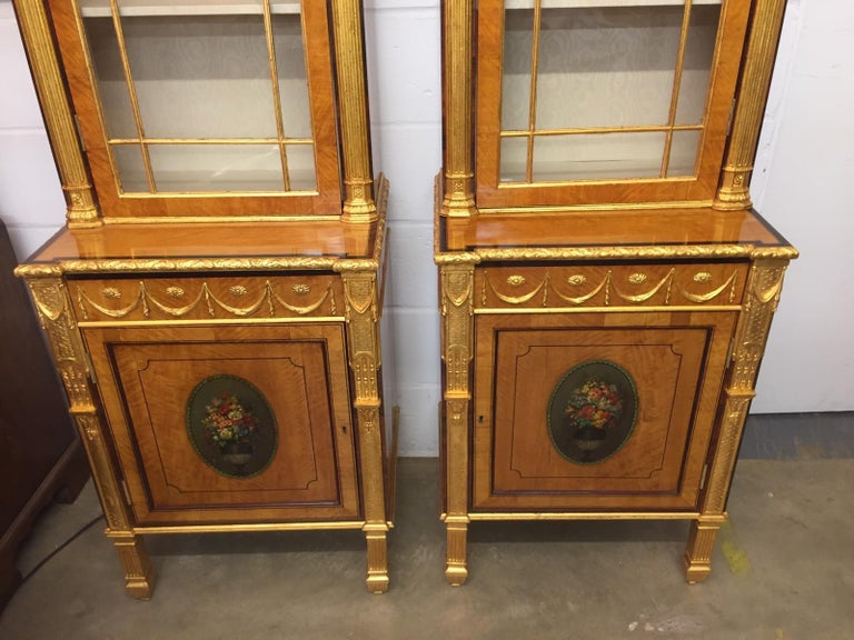 English 19th Century Pair of George III Style Painted and Parcel-Gilt Satinwood Cabinet For Sale