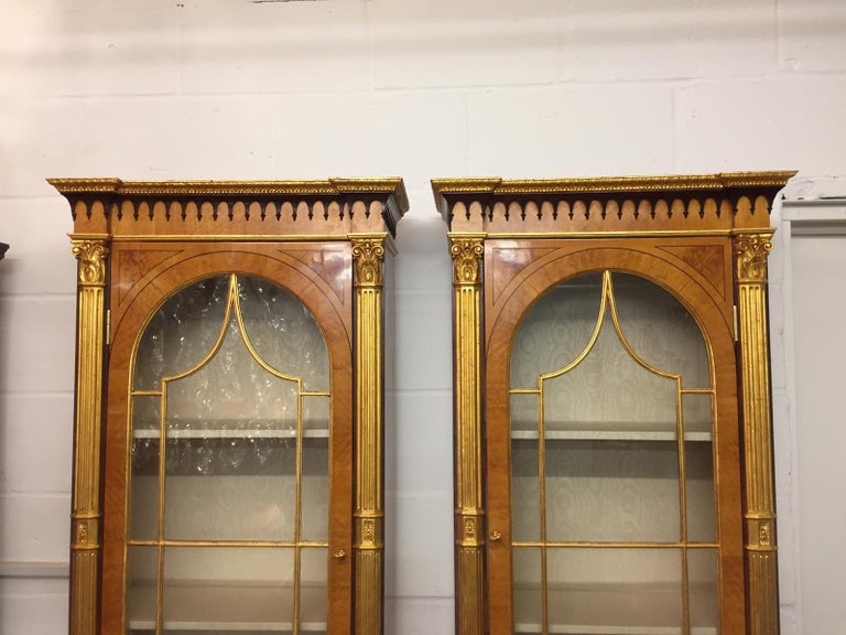 Hand-Painted 19th Century Pair of George III Style Painted and Parcel-Gilt Satinwood Cabinet For Sale