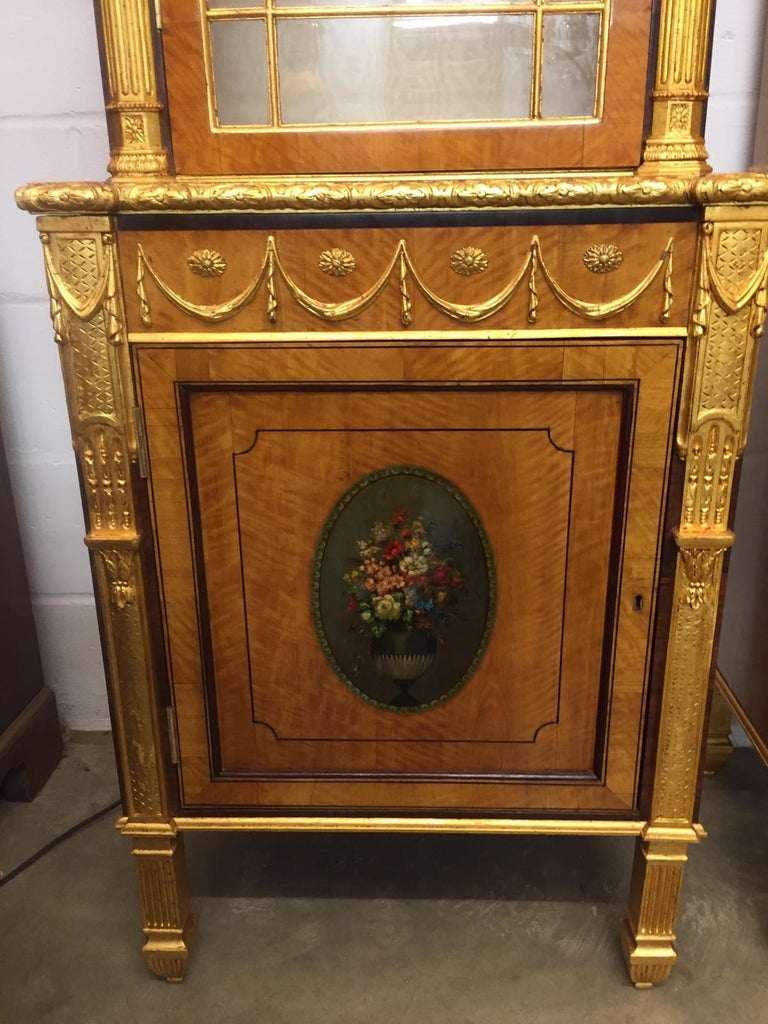Mid-19th Century 19th Century Pair of George III Style Painted and Parcel-Gilt Satinwood Cabinet For Sale