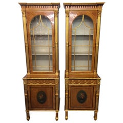 19th Century Pair of George III Style Painted and Parcel-Gilt Satinwood Cabinet