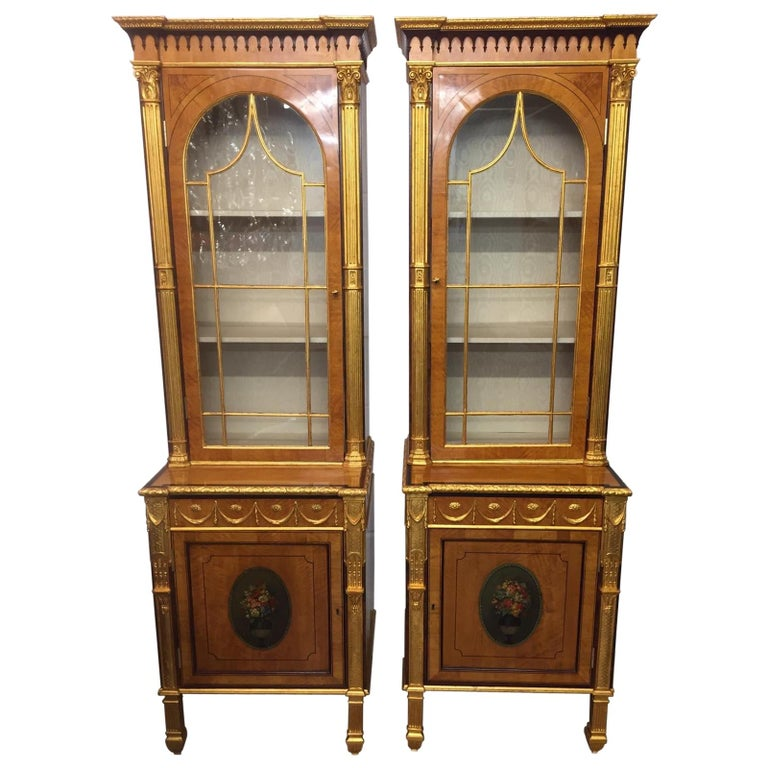 19th Century Pair of George III Style Painted and Parcel-Gilt Satinwood Cabinet For Sale