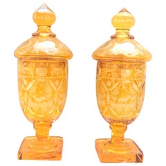 19th Century Pair of German Czech Bohemian Amber-Yellow Covered Vases