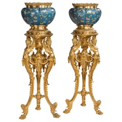19th Century Pair of Gilt Bronze and Cloisonné Enamel Jardinières on Stands