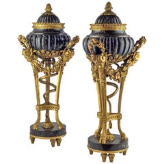 19th Century Pair of Gilt Bronze and Marble Urn and Cover