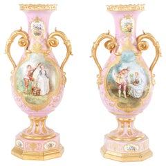 19th Century Pair Gilt Porcelain Decorative Urns / Vases