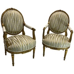 19th Century Pair of Giltwood Louis XVI Style French Oval Back Armchairs