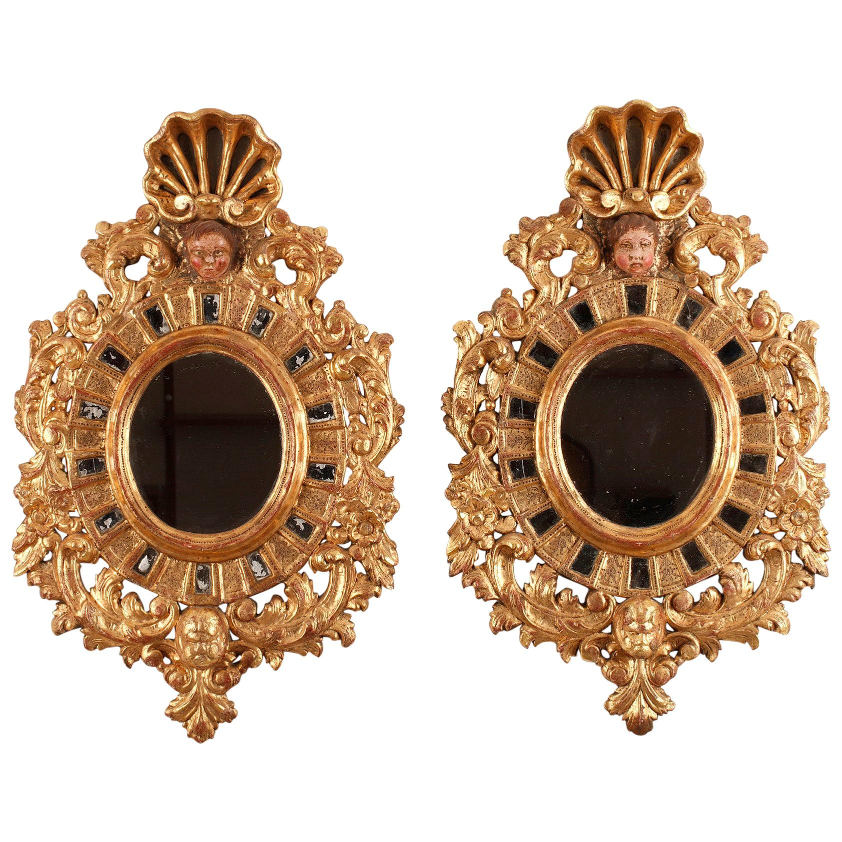 19th Century Pair of Giltwood Mirrors in Venetian Style