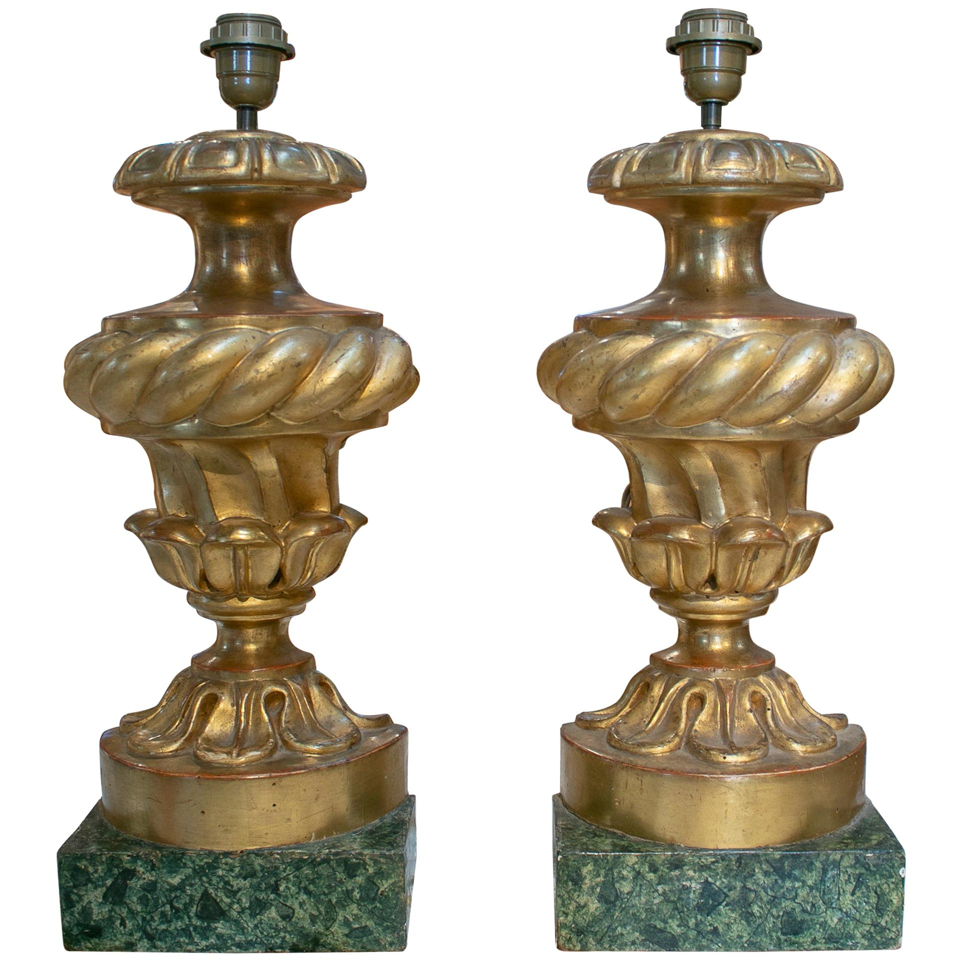 19th Century Pair of Gold Gilt Wooden Table Lamps with Marbled Base