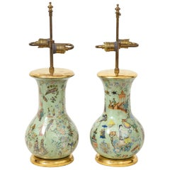 19th Century Pair of Green Decalcomania Vases Mounted as Lamps