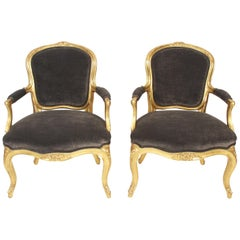 19th Century Pair of Grey Velvet and Giltwood Salon Chairs