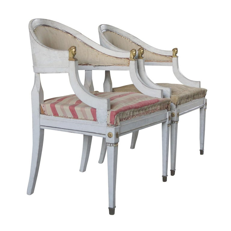 Swedish 19th Century Pair of Gustavian Armchairs For Sale