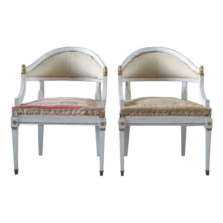 19th Century Pair of Gustavian Armchairs For Sale