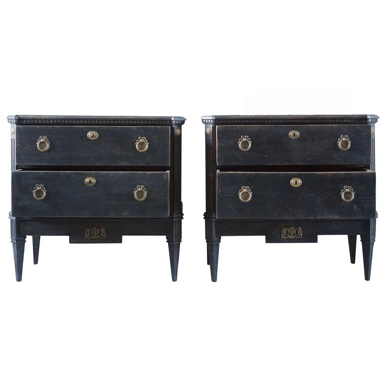 Hand-Carved 19th Century Pair of Gustavian Chests For Sale