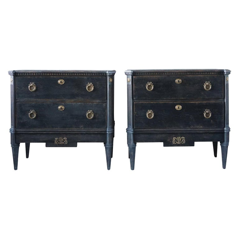 19th Century Pair of Gustavian Chests For Sale