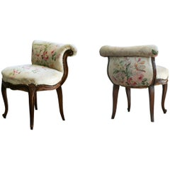19th Century Pair of Hand-Carved Walnut Ladies Chairs in Louis XV Style
