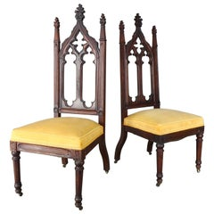 19th Century Pair of High Back Gothic Chairs