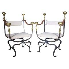 19th Century Pair of Iron and Brass Savonarola Chairs
