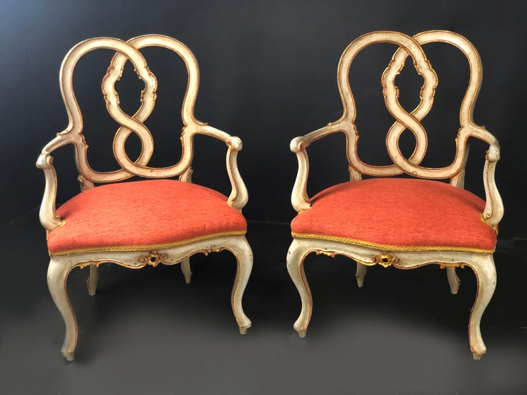 19th Century Pair of Italian Armchairs Painted and Parcel Gilt For Sale 4