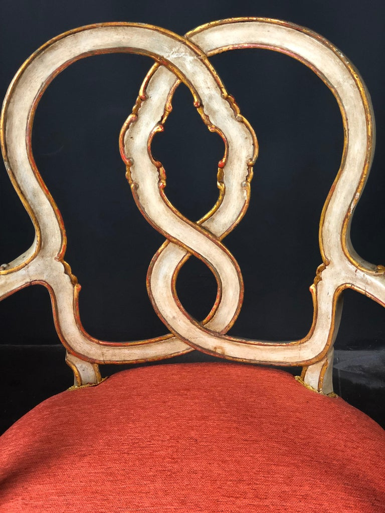 Carved 19th Century Pair of Italian Armchairs Painted and Parcel Gilt For Sale