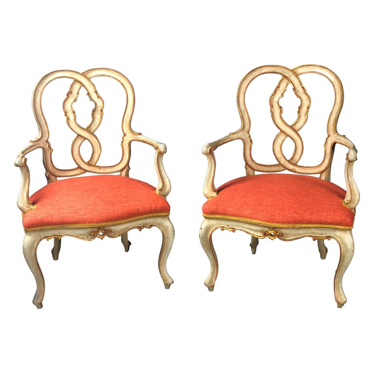 19th Century Pair of Italian Armchairs Painted and Parcel Gilt For Sale