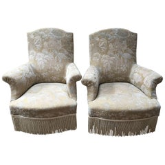 19th Century Pair of Italian Armchairs With New Upholstered, 1890s