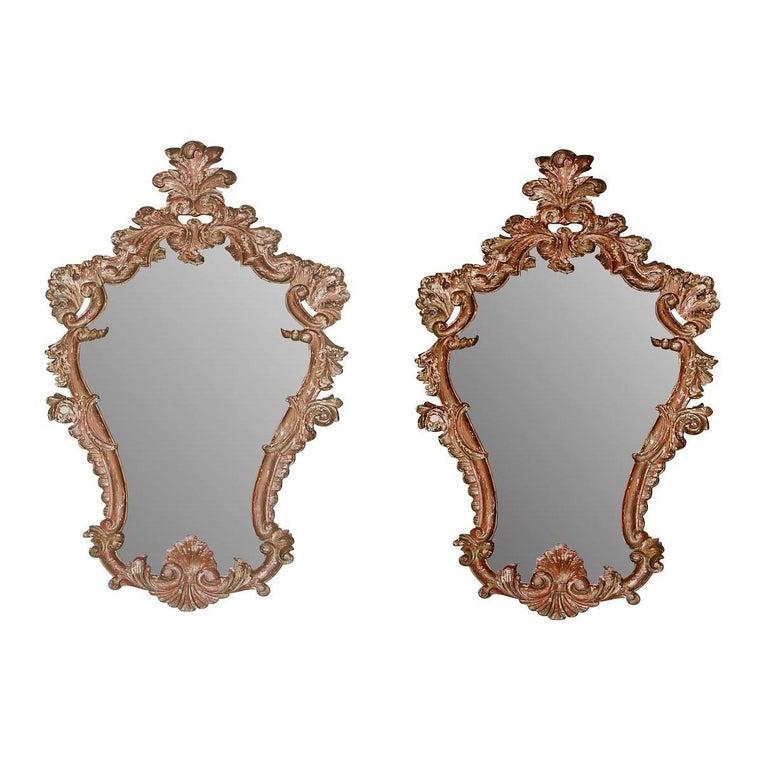 19th Century Pair of Italian Baroque Mirrors For Sale