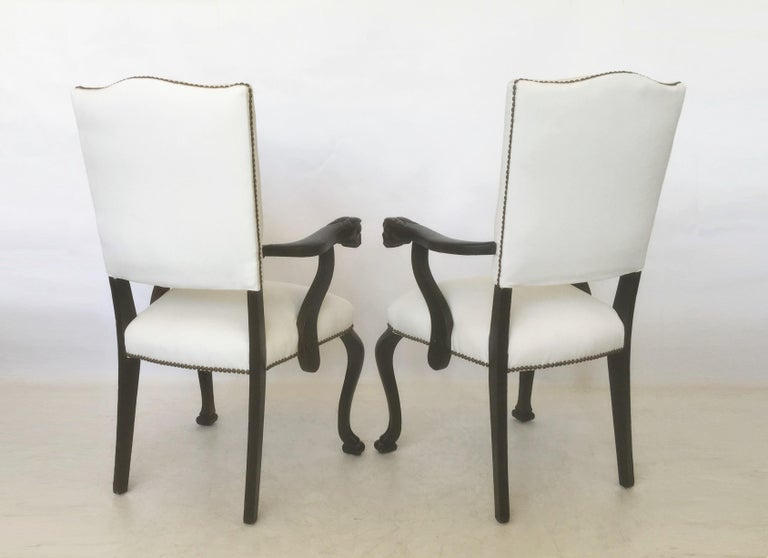 19th Century Pair of Italian Carved Walnut Armchairs For Sale 6