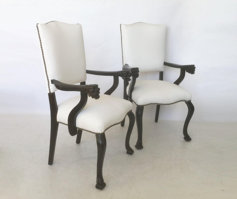 19th Century Pair of Italian Carved Walnut Armchairs In Good Condition For Sale In Dallas, TX
