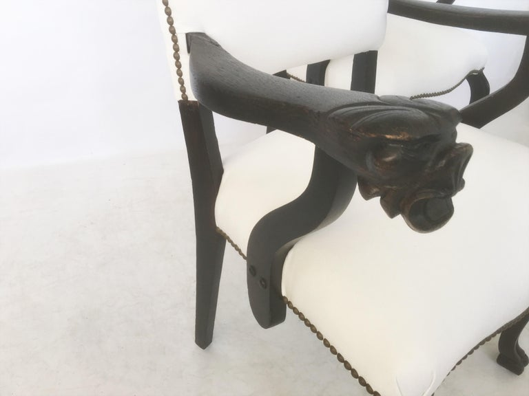 Bronze 19th Century Pair of Italian Carved Walnut Armchairs For Sale