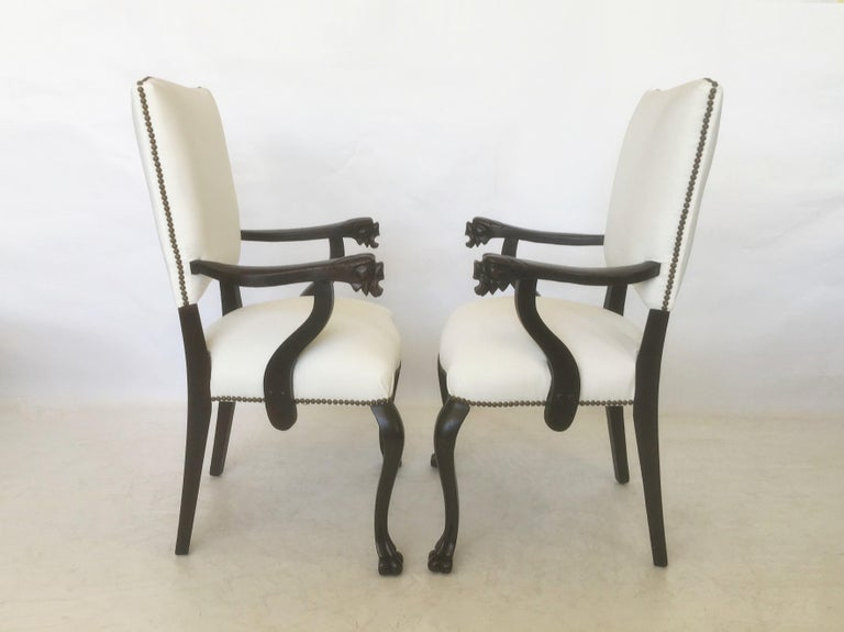 19th Century Pair of Italian Carved Walnut Armchairs For Sale 5
