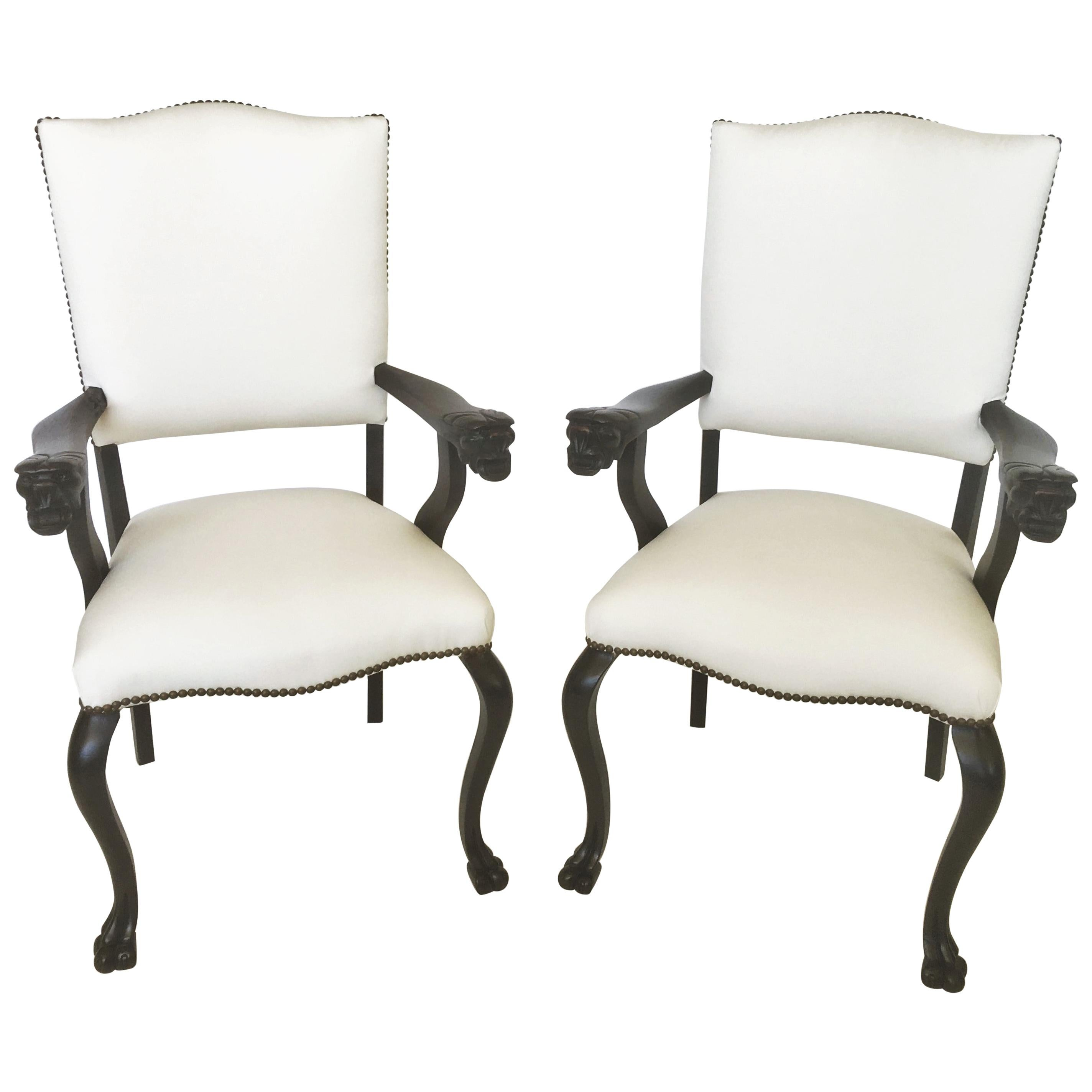 19th Century Pair of Italian Carved Walnut Armchairs