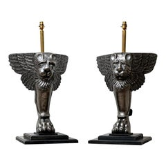 19th Century Pair of Italian Cast Iron Griffin 'Winged Lions' Table Lamps