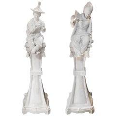 19th Century Pair of Italian Ceramic Chinoiserie Statues