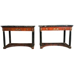 19th Century Pair of Italian Empire Console with Black Marble Tops