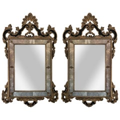 19th Century Pair of Italian Mirrors Black and Gold