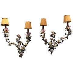19th Century Pair of Italian Tole' Rococo Porcelain Flowered Sconces
