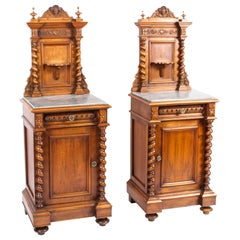 19th Century Pair of Italian Walnut Marble Top Bedside Cabinets