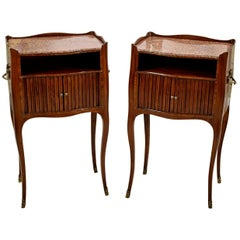 19th Century, Pair of Italian Walnut Wood Bedside Tables