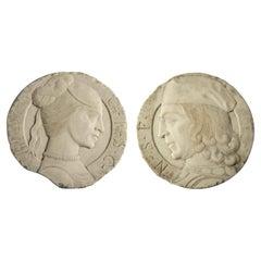 19th Century Pair of Italian White Marble Portrait Reliefs of Renaissance Couple