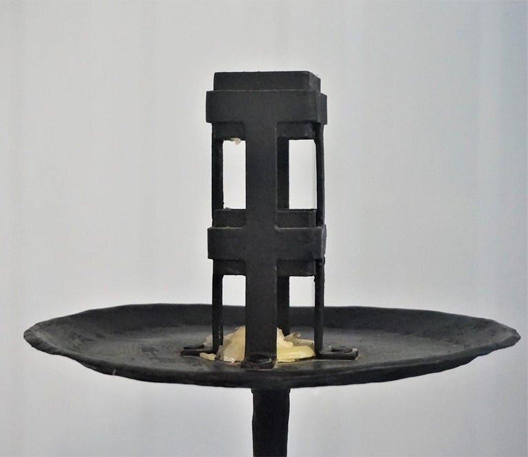 Early 19th Century Pair of Italian Wrought Iron Church Torchères, Candleholders For Sale 7