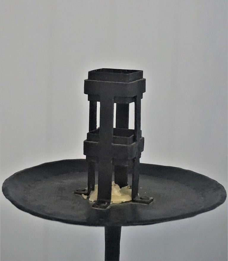 Early 19th Century Pair of Italian Wrought Iron Church Torchères, Candleholders For Sale 8