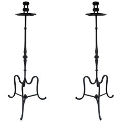 19th Century Pair of Italian Wrought Iron Torchères, Candleholders