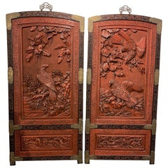 19th Century Pair of Japanese Carved Wood and Lacquered Wall Panels