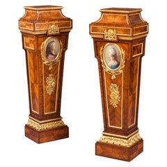 19th Century Pair of Kingwood Porcelain-Mounted Pedestals in the Louis XVI Style