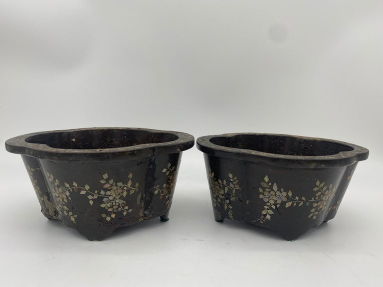 Qing 19th Century Pair of Lacquer Chinese Jardinières Inlay with Mother of Pearl For Sale