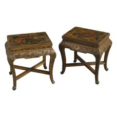 19th Century Pair of Lacquer Low End Tables