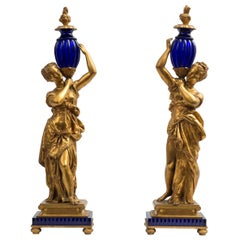 19th Century Pair of Ladies Bronze Sculptures Gilded Bronze Murano Glass