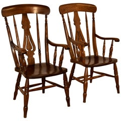 19th Century Pair of Lancashire Ladder Back Armchairs